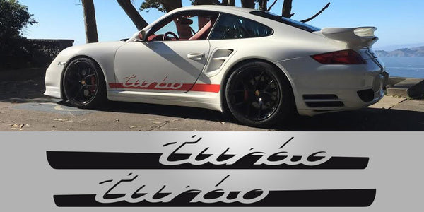 Tapered Porsche Turbo Side Decals