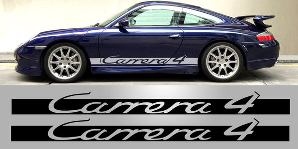 Porsche Carrera 4 side decal script