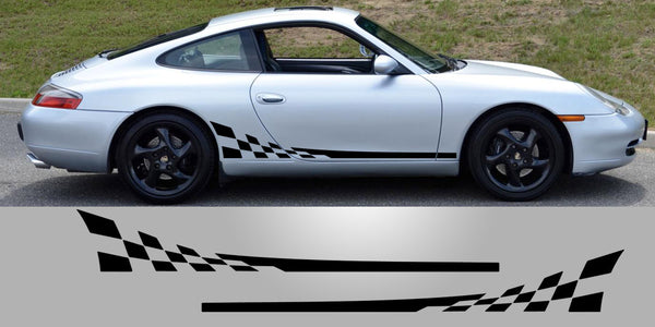 Porsche 996 Checkered side decal graphics