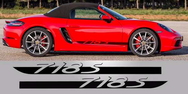Porsche 718S side decal vinyl script stripes