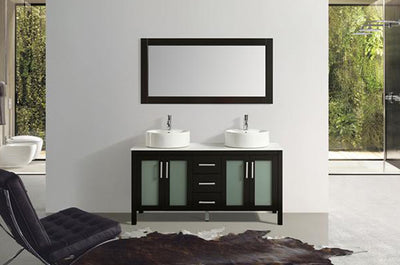 "60"" Solid Wood Dark Brown Double Vanity with Sinks, Faucets and Mirror"