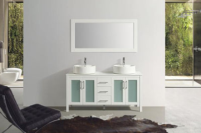 "60"" Solid Wood White Double Vanity with Sinks, Faucets and Mirror"
