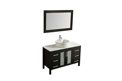 "48"" Solid Wood Dark Brown Vanity with Sink, Faucet and Mirror"