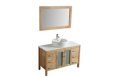 "48"" Solid Wood Light Brown Vanity with Sink, Faucet and Mirror"