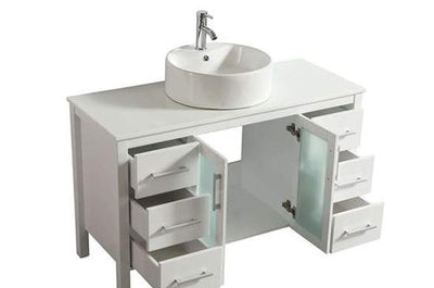 "48"" Solid Wood White Vanity with Sink, Faucet and Mirror"