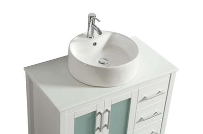"36"" Solid Wood White Vanity with Sink, Faucet and Mirror"
