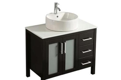 "36"" Solid Wood Dark Brown Vanity with Sink, Faucet and Mirror"