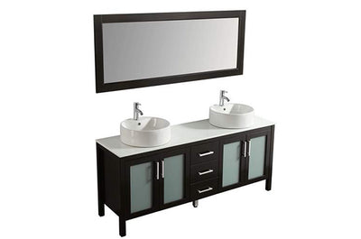 "72"" Solid Wood Dark Brown Double Vanity with Sinks, Faucets and Mirror"