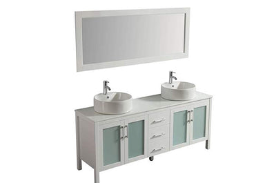 "72"" Solid Wood White Double Vanity with Sinks, Faucets and Mirror"