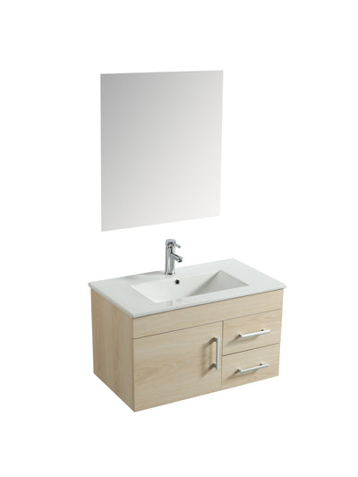 "Floating Melamine Vanity Set, Beige, 32"" w/ Sink, Faucet and Mirror"