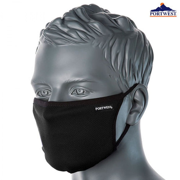 Portwest Face Mask- 3-Ply Anti-Microbial Fabric Black