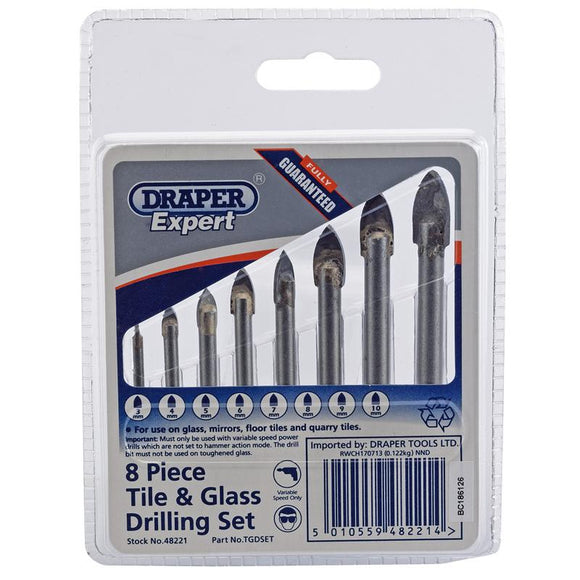 Draper Tile and Glass Drilling Set (8 Piece)