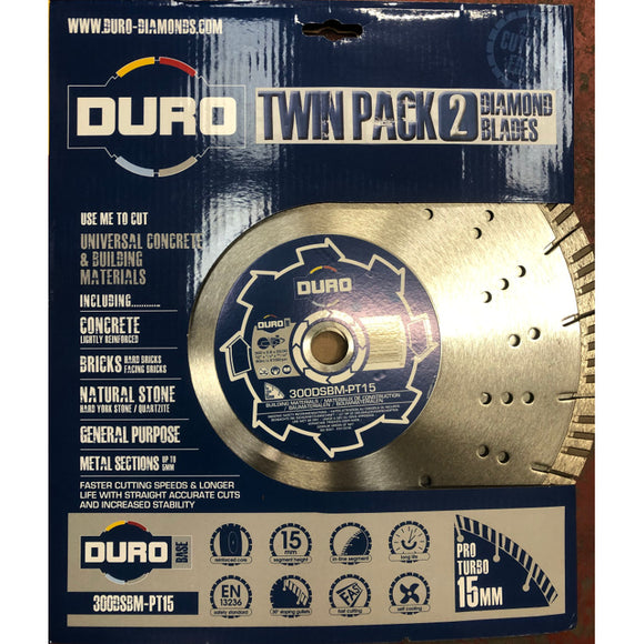 Duro Twin Pack of Universal Concrete & Building Materials Blades 15mm segment