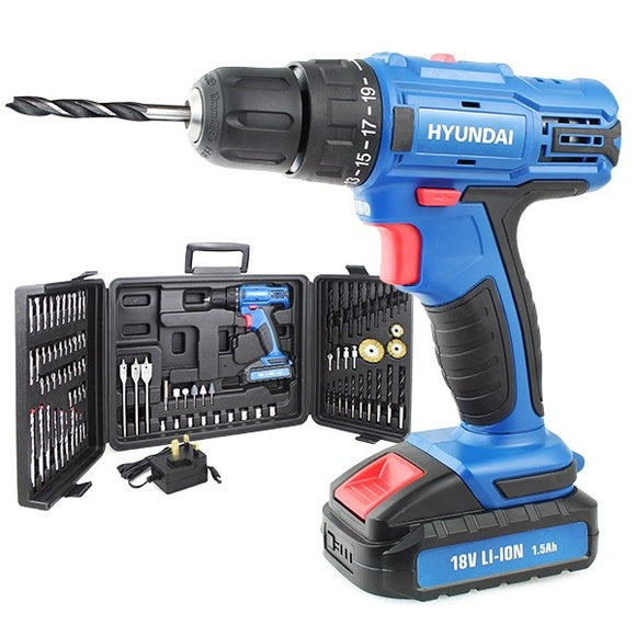 Hyundai 18v 1.5AH Li-Ion Cordless Drill with 89 Piece Drill Accessory Kit
