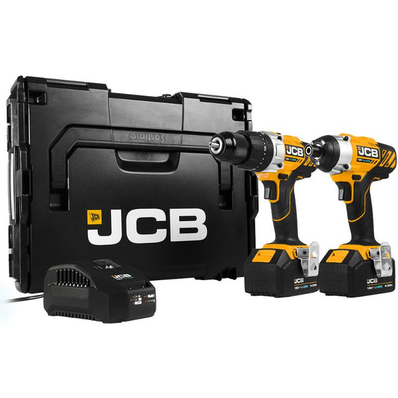 JCB Brushed 18V Drill Twin Pack 2 x 4.0Ah Battery Kit