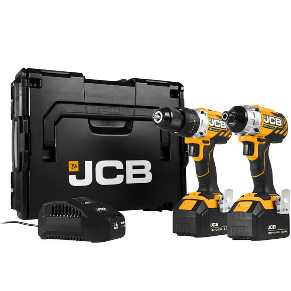 JCB Brushless 18V Drill Twin Pack 2 x 4.0Ah Battery Kit
