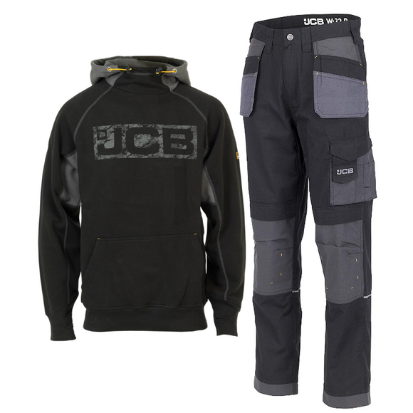 JCB HORTON HOODIE BLACK/GREY & TRADE PLUS RIP STOP TROUSER