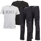 JCB TWIN PACK WORK PANTS (BLACK) & TWIN-PACK T-SHIRTS