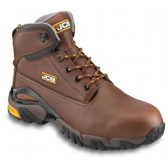 JCB 4X4/T Tan Work Boots With Steel Toe Caps & Mid-Sole