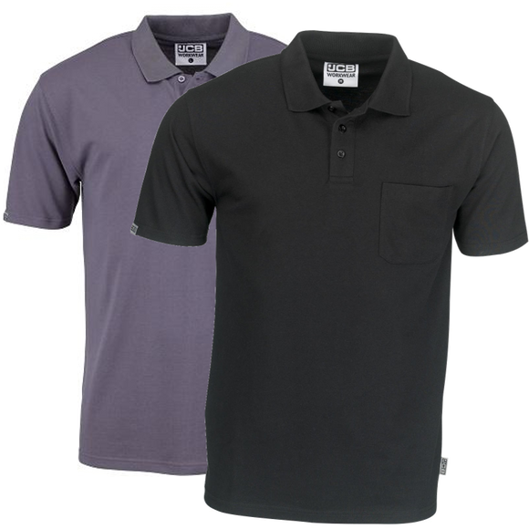 JCB Essential Grey & Black Polo Shirts With Pockets