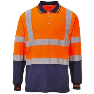 PORTWEST TWO-TONE HI-VIS POLO SHIRT L/S