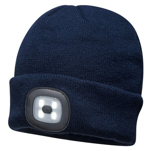 PORTWEST BEANIE LED HEAD-LIGHT USB RECHARGEABLE