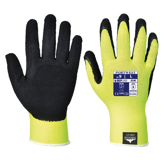 Portwest Hi-Vis Grip Glove - Latex - (PACK OF 12)
