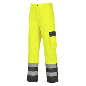 PORTWEST HI-VIS CONTRAST TROUSERS - LINED