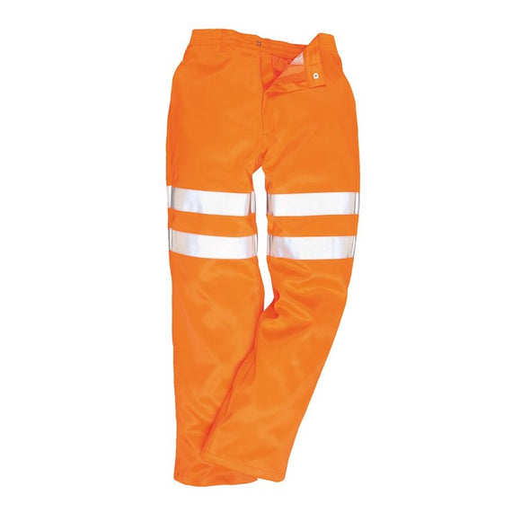 PORTWEST HI-VIS POLY-COTTON TROUSERS GO/RT