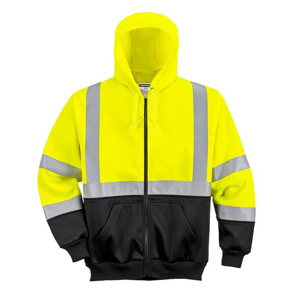 PORTWEST HI-VIS TWO-TONE ZIPPED HOODY