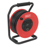 Sealey Cable Reel 50m 4 x 230V 2.5mm² Heavy-Duty Thermal Trip