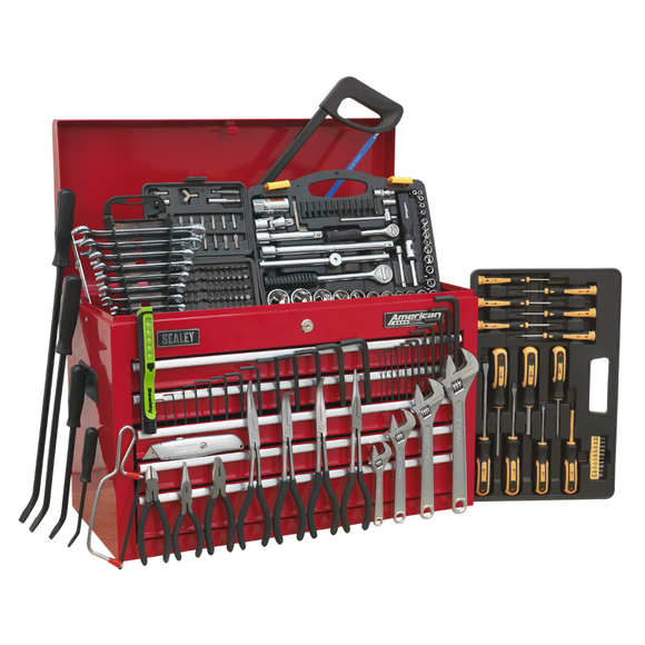 Sealey Topchest 5 Drawer with Ball Bearing Slides - Red & 230pc Tool Kit