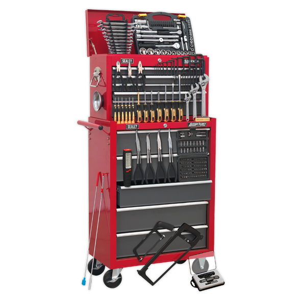 Sealey Topchest & Rollcab Combination 14 Drawer with Ball Bearing Slides - Red/Grey & 239pc Tool Kit