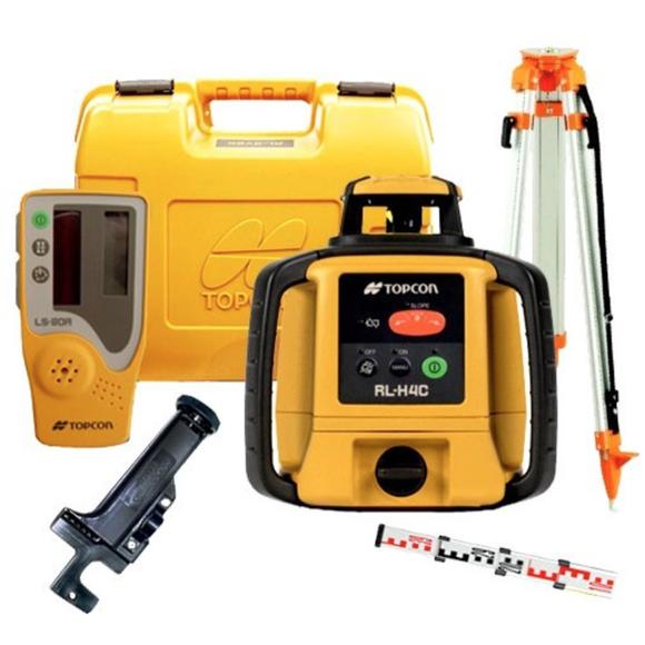 TOPCON RLH4C LEVEL LASER WITH TRIPOD AND STAFF
