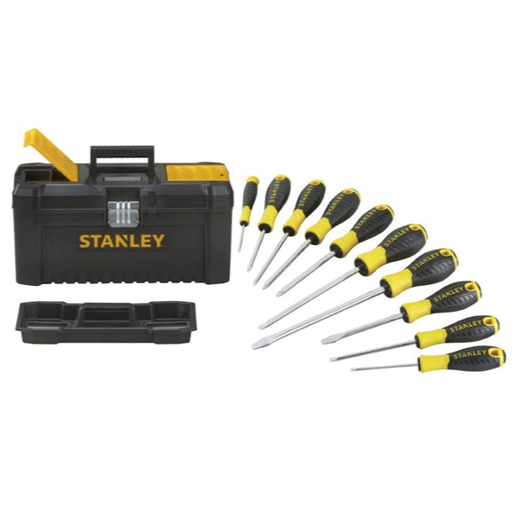 Stanley 10pce Screwdriver and 16in Toolbox Kit