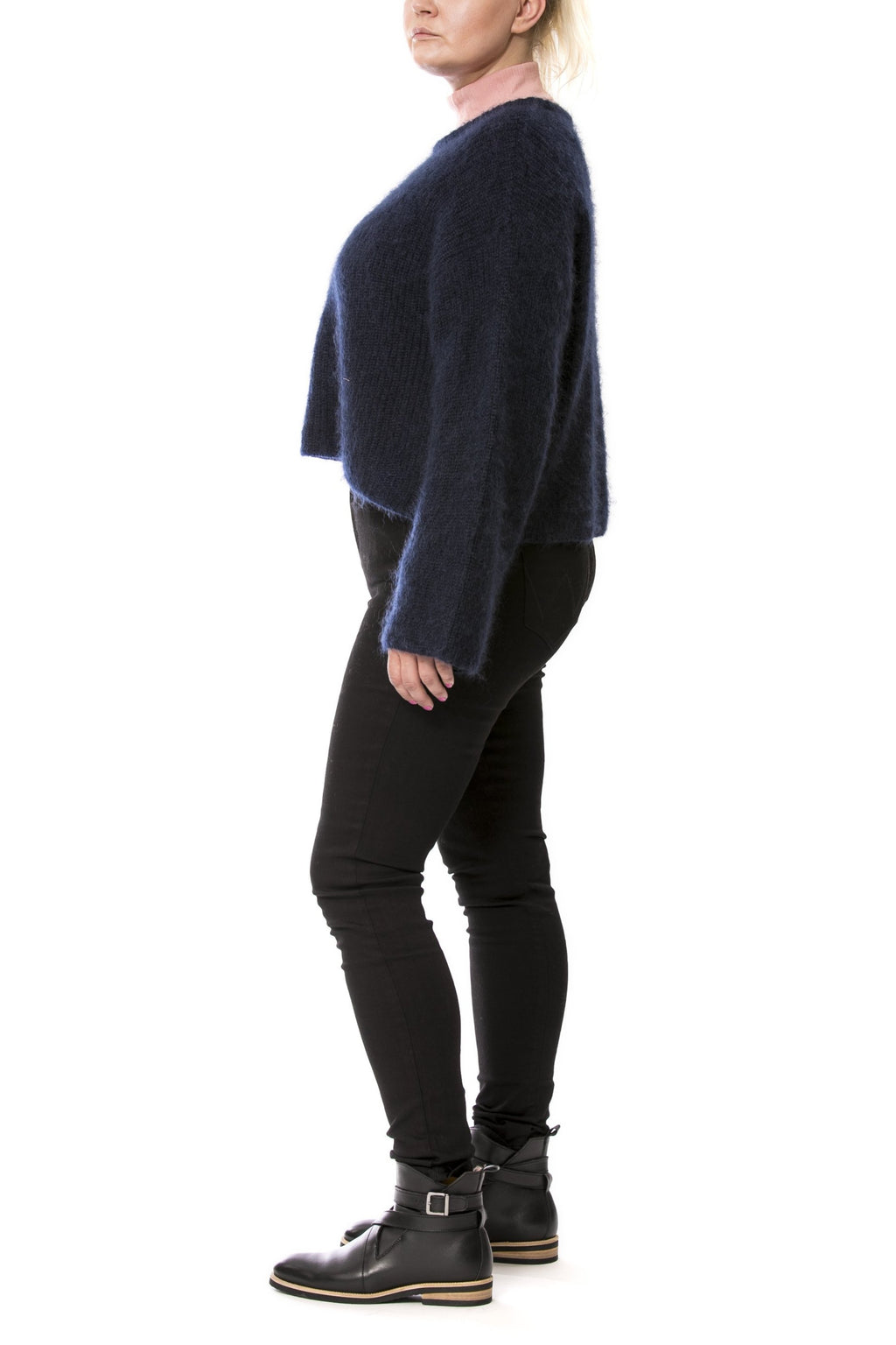 Wide short sweater - blue