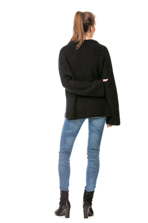 High neck oversized sweater - black