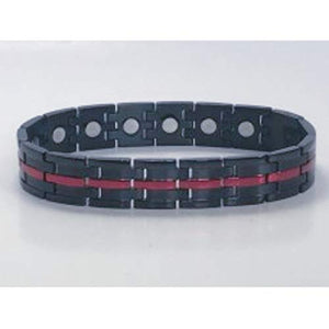 316L Stainless Steel black with stipe magnetic bracelet
