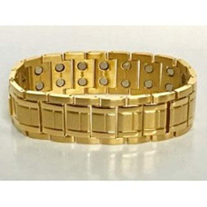 Wide gold color double magnetic stainless steel bracelet