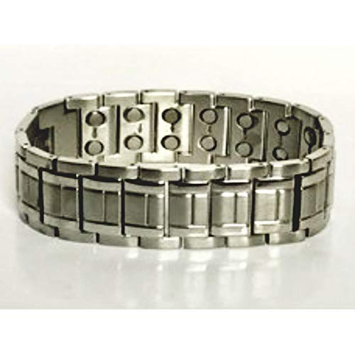 Wide double magnetic stainless steel bracelet