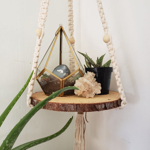 Wood Shelf Round Balancing Act Macrame Hanger - The Fiber Almanac