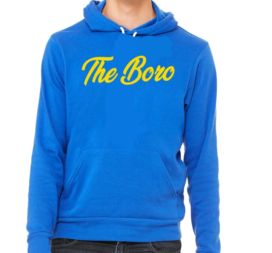 THE BORO CURSIVE BLUE/W