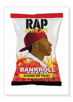 Bankroll Fresh Rap Snacks Original Wood Frame Panel 16x20