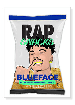 Blueface Rap Snacks Original Wood Frame Panel 16x20