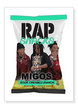 Migos Rap Snacks Original Wood Frame Panel 16x20