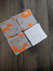 Tampons démaquillants - Paquet de 4 - Renard orange sur fond gris