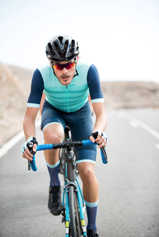 2019 Santini Men's Genio Road Skinsuit in Light Blue and Navy at Cento Cycling