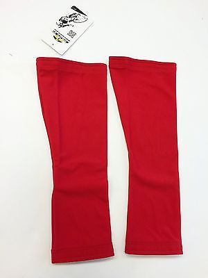 Made in Italy by GSG No Logo Super Roubaix Cycling LEG WARMERS in Red