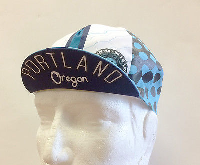 "Portland Oregon ""Rain Drop"" Cycling Cap in Blue: made in Italy by Apis"