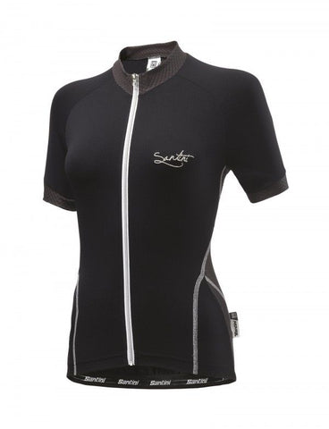 Women's Monella Short Sleeve Cycling Jersey - in Black- Made in Italy by Santini